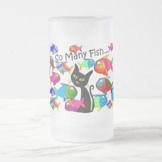 """Regalos de los amantes del gato de """"tan muchos taza de cristal esmerilado"""