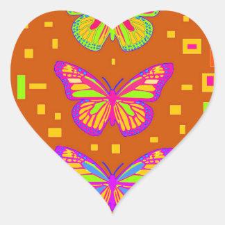 Regalos de Orage del sudoeste de Mariposa por Pegatina Corazón