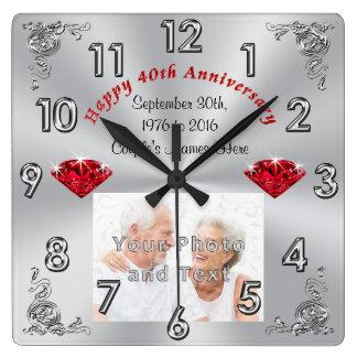 Regalos de su aniversario de la FOTO y del TEXTO Reloj Cuadrado