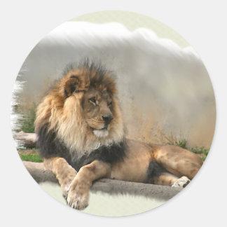 Regalos del arte de los amantes del león pegatina redonda