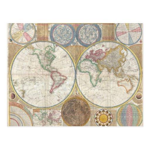 Regalos del mapa del mundo tarjetas postales