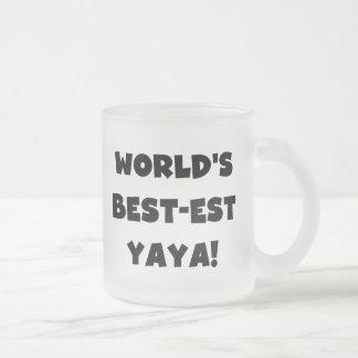 Regalos del Mejor-est Yaya del mundo negro del Taza De Café Esmerilada