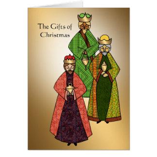 Regalos del navidad de los tres hombres sabios tarjeta de felicitación