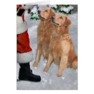Regalos del navidad del golden retriever tarjeta de felicitación