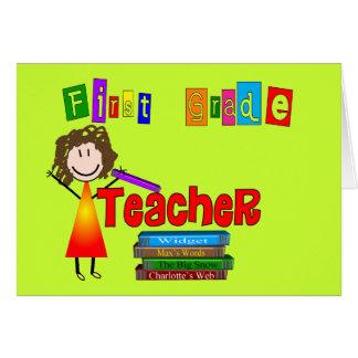 Regalos del profesor del primer grado tarjeta de felicitación