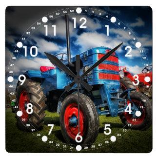 Regalos frescos del tractor de la antigüedad del r reloj cuadrado