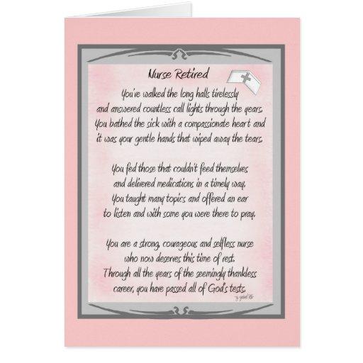 Regalos jubilados del poema de la enfermera por el tarjeta