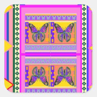 Regalos occidentales del diseño de la mariposa de pegatina cuadrada