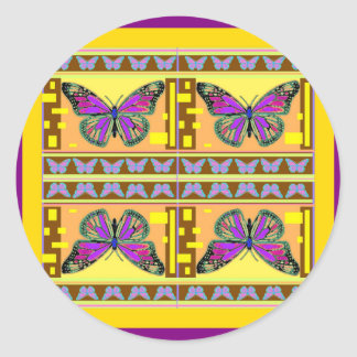 Regalos occidentales púrpuras de la mariposa de etiquetas redondas
