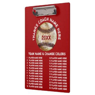 Regalos personalizados del entrenador de béisbol carpeta de pinza
