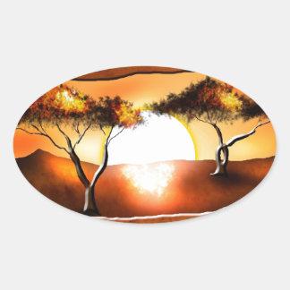Regalos retros 12 del estilo del vintage de África Pegatina Ovalada