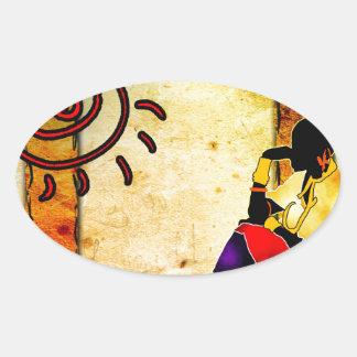Regalos retros 17 del estilo del vintage de África Pegatina Ovalada