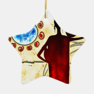 regalos retros del estilo del vintage de af028 adorno navideño de cerámica en forma de estrella