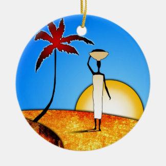 regalos retros del estilo del vintage de af038 adorno navideño redondo de cerámica