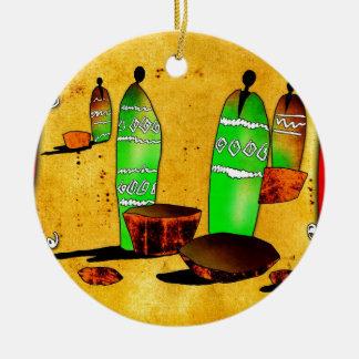 regalos retros del estilo del vintage de af049 adorno navideño redondo de cerámica