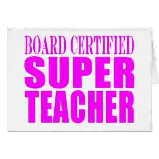 Regalos rosados frescos para los profesores: Profe Tarjeta De Felicitación