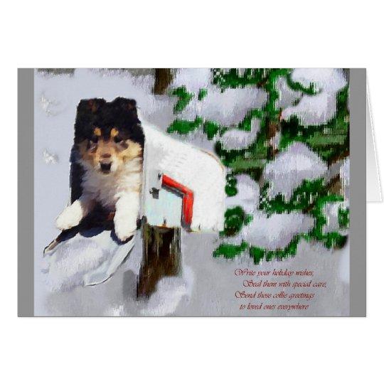 Regalos tricolores del navidad del perrito del tarjeta de felicitación