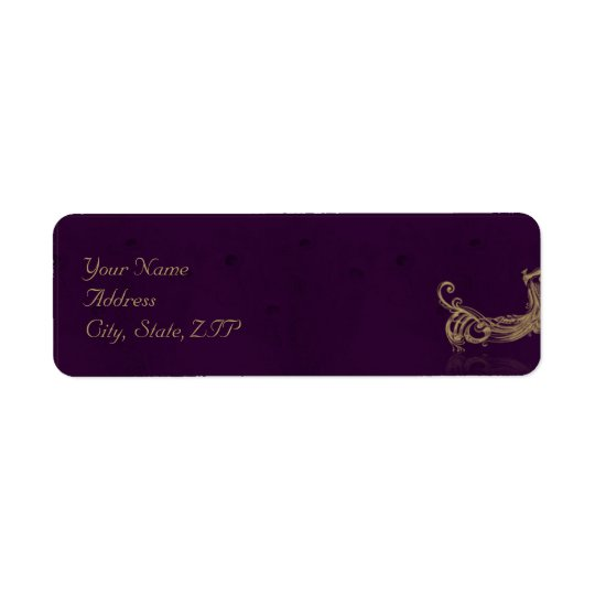 Regencia del pavo real en púrpura etiqueta de remite