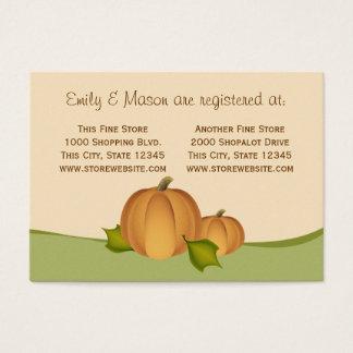 Registro de la ducha de la cosecha de la calabaza tarjeta de negocios