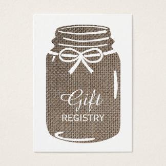 Registro de regalos del boda del tarro de albañil tarjeta de negocios