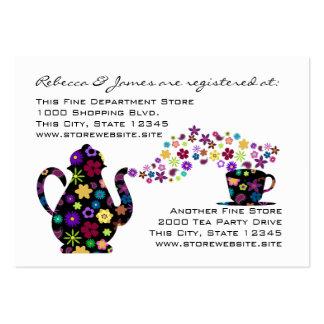 Registro nupcial floral de la ducha de la fiesta tarjetas de visita grandes