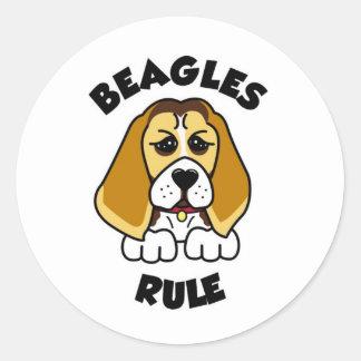 ¡Regla de los beagles! Pegatina Redonda