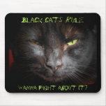 Regla de los gatos negros alfombrilla de ratón