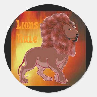 Regla de los leones etiquetas redondas