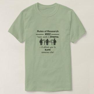 Reglas 002 de la investigación camiseta