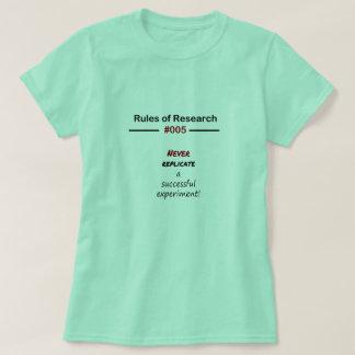 Reglas 005 de la investigación camiseta