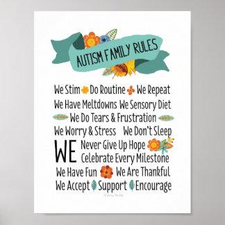 Reglas de la casa de la familia del autismo póster