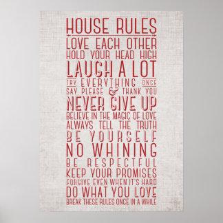 Reglas de la casa posters