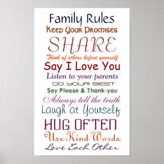 Reglas de la familia para el poster del amor y de póster