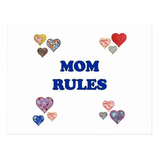Reglas de la mamá tarjetas postales