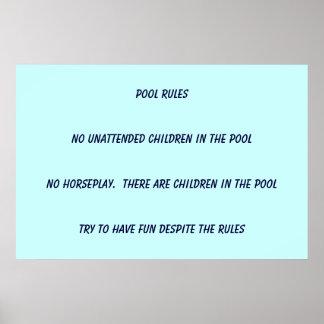 Reglas de la piscina póster