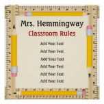 Reglas de la sala de clase del profesor de escuela poster