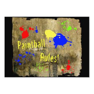 Reglas de Paintball en una pared del Grunge Invitación 12,7 X 17,8 Cm