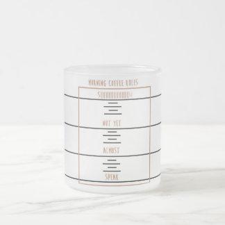 Reglas del café de la mañana taza de cristal esmerilado