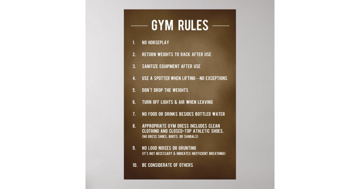 Reglas del gimnasio p ster zazzle for Posters para gimnasios
