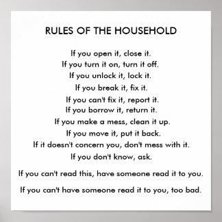 Reglas del hogar póster