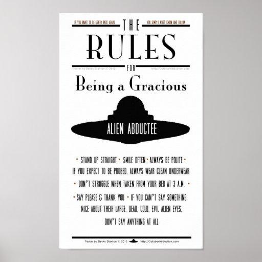 Reglas para ser un Abductee gracioso Posters