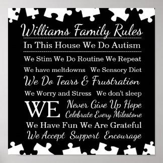 Reglas personalizadas de la familia del autismo póster