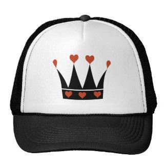 Reina de la corona de los corazones gorras de camionero