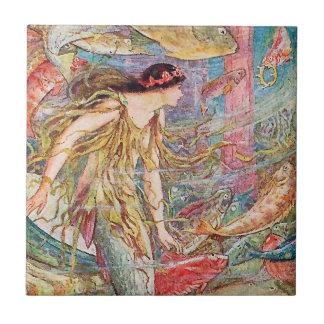 Reina de los pescados - libro de hadas anaranjado azulejo de cerámica