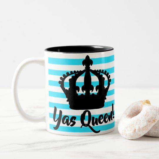 ¡Reina de Yas!  Taza rayada de la corona