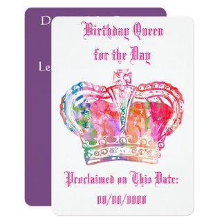 Reina del cumpleaños para el día invitación 12,7 x 17,8 cm
