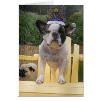 Reina del dogo francés tarjeta de felicitación