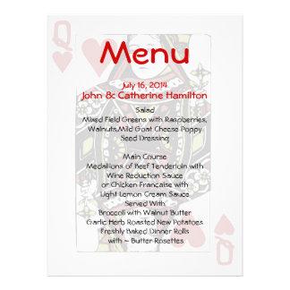 Reina del menú de encargo del boda de las tarjetas comunicado personalizado