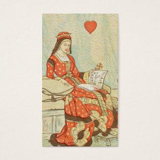 Reina del vintage de la pintura de los corazones tarjeta de visita