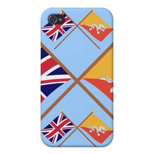 Reino Unido y banderas cruzadas Bhután iPhone 4 Carcasa